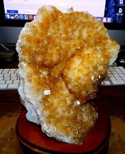 LARGE POLISHED CITRINE CRYSTAL CLUSTER GEODE FROM BRAZIL CATHEDRAL W/ WOOD BASE