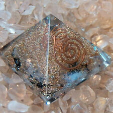 2 INCH ORGONE BLACK TOURMALINE, CRYSTAL QUARTZ, COPPER ENERGY GENERATOR  PYRAMID