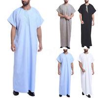 UK STOCK Men Embroidery Short Sleeve Casual Loose Tops Shirt Dress Kaftan Robe