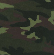 Woodland Camo Camouflage Green Fleece Fabric Print by the Yard A236.04
