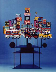 "Fredrick Prescott ""Times Square"" Steel Kinetic Sculpture with Neon Stunning!"