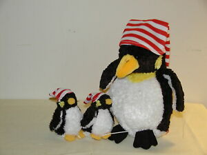 Vintage Waddles & Wee Ones Penguin Family Pull String Plush Toy by Ganz 8in New