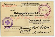 GERMANY POW RED CROSS POSTCARD SENT TO OMSK, SIBERIA  1917 LONG MSG      (A627)
