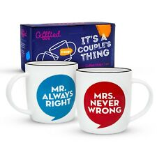 Mr Always Right Mrs Never Wrong Mugs Engagement Anniversary Christmas Gifts Set