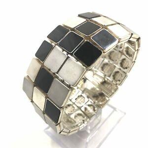Tiffany & Co. Square Tile Onyx Link Bracelet in Sterling Silver - RARE