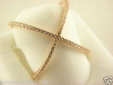 Rose Tone Sterling Silver 925 CZ Criss Cross X Ring Size 6 #5