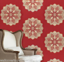 Red & Gold, Paste the Wall, Designer Wallpaper by Casadeco