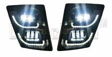 Volvo VNL 2004+ Ultra LED Black Fog Light plus LED Trim Set Pair LH RH Bright