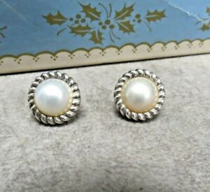 TIFFANY & CO MABE PEARL EARRLINGS, STERLING SILVER, 14K GOLD POSTS, NO BOX
