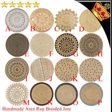 Handmade Area Rug Braided Jute Printed Woven Carpet Natural Round Floor Mat New