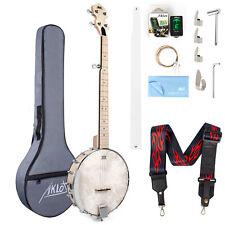 More details for aklot 5 string banjo guitar open back maple 24 bracket geared 5th tuner arm rest
