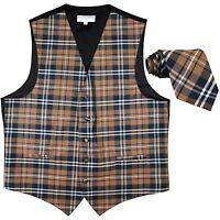 New Men's Plaid Tuxedo Vest Waistcoat & Necktie Brown Wedding Prom formal party
