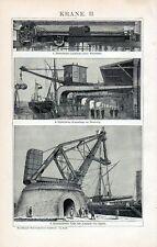 Antique print Crane cranes machine 1894 La Spezia