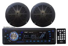 "NEW Pyle PLMRKT12BK Marine AM/FM iPod AUX USB Receiver + 2 x 100W 5.25"" Speakers"