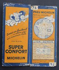 Carte MICHELIN old map n°74 LYON GENEVE SUISSE 1932 Guide Bibendum pneu tyre
