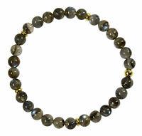 Labradorit Edelstein-Armband Stretch Perlenarmband D321