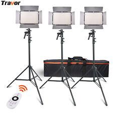3Pcs Bi-Color 600 LED Video Light Panel Studio Photography Stand Lighting Kits