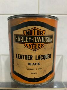 Vintage Harley Davidson Motor Cycle Leather Lacquer Tin - Motor Oil Petrol Tin