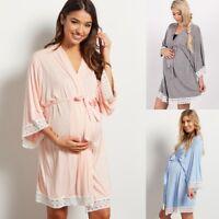 Women Maternity Dress Pregnancy Nightgown Nursing Sleepwear Solid Lace Robe Gown