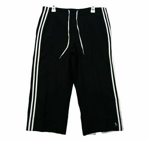 Danskin Now Womens Black Striped Pockets Activewear Capri Pants Size L (12/13)