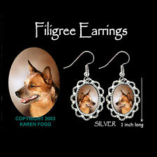 Australian Cattle Dog Red - Silver Filigree Earrings Jewelry