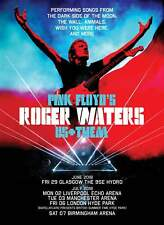 "ROGER WATERS ""US + THEM"" 2018 UK CONCERT TOUR POSTER-Prog Rock Music, Pink Floyd"