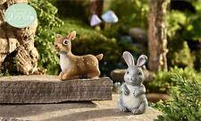 Fairy Garden Miniature ~ Glow-In-The-Dark Fawn And Rabbit ~ Mini Dollhouse