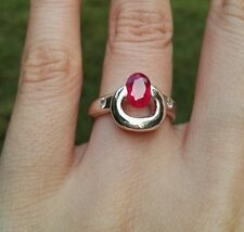 """Hush"": Ruby Sterling Silver Ring, Size 5.5"