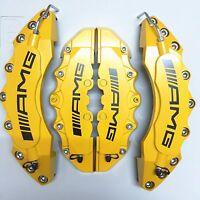 "Engineering Plastic Yellow AMG Brake Caliper Covers 11"" F & 9"" R Universal Car"