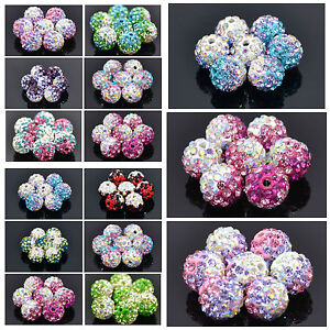 10PCS 8MM TWO TONE AB SHAMBALLA CRYSTAL CLAY BEADS FOR JEWELLERY MAKING
