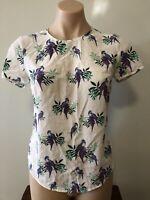 Marcs 100% Silk White Tropical Bird Print Short Sleece Top Approz Size 6