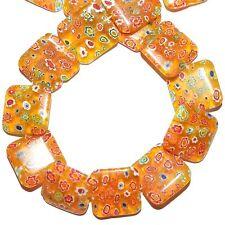 "G3873L Sunshine Yellow 20mm Flat Square Multi-Flower Millefiori Glass Beads 12"""