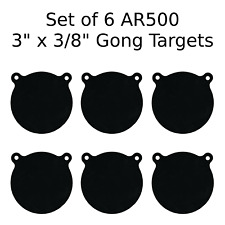 "AR500 Steel Six 3"" x 3/8"" Thick Target Gong Shooting Practice Painted Black"