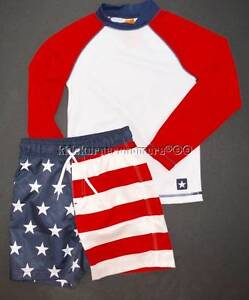 Gymboree Star Spangled Summer 7 Patriotic American Flag Swimwear 4th of July Red