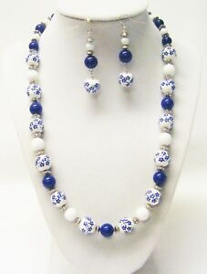 Ceramic Sapphire Round Blue Flower Bead Necklace & Earrings Set