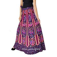 Indian Women Ethnic Mandala Rapron Printed Cotton Long Skirt Wrap Around Pink