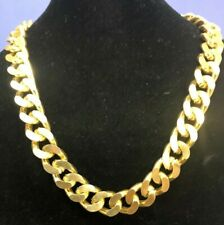 22 Inches 17 mm Hollow Link Necklace, Yellow Gold Tone