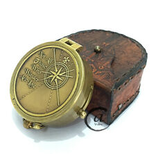 Vintage Traveling Tool Compass With Leather Pouch Box Nautical Maritime Dec