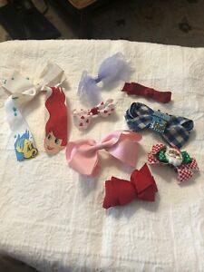 Little Girls Assorted Barrettes Lot Of 8 Christmas Santa Hearts White Pink Blue