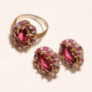 Natural Burmese Red Ruby Two Tone Ring Earring Set 925 Sterling Silver Jewelry A