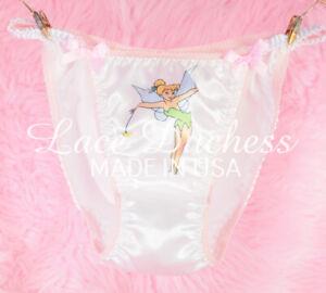 VTG 80s sissy SATIN Fairy Princess Classic Sissy White string bikini Panties