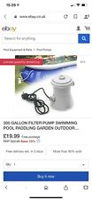 300 GALLON FILTER PUMP SWIMMING POOL PADDLING GARDEN OUTDOOR POOLS CLEAN WATER