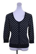 womens navy blue polka dot TALBOTS cardigan sweater knit cotton PETITE M PM