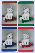 Set of 4 Vintage Swap/Playing Cards - SWEET KITTENS / CATS SITTING ON PILLOWS