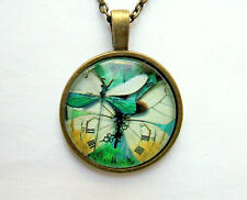 "PBM3 - BUTTERFLY CLOCK PENDANT, Bronze Alloy Glass Domed PENDANT with 20"" chain"