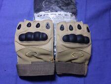 Factory pilot tactical gloves tan khaki leather palms fingerless medium airsoft