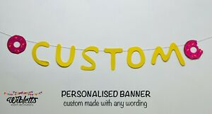 PERSONALISED CUSTOM BANNER THE SIMPSONS TV INSPIRED THEME BIRTHDAY PARTY, DONUT
