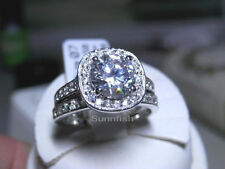 925 STERLING SILVER 2 RING HALO SIMULATED DIAMOND ENGAGEMENT WEDDING SET Size 7