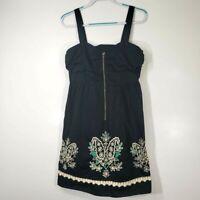 Floreat Women's Dress 10 Black Green Floral Cutout Sweatheart Anthropologie