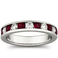 1ct Ruby & Diamond Channel Set Wedding Ring 14K White Gold